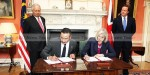 File photo: British Prime Minister David Cameron and Prime Minister Najib Razak look on as Memorandum of Understanding on transnational crime is signed on 14 July 2011