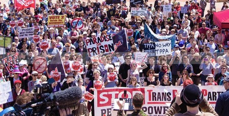 Rally against the Trans-Pacific Partnership (TPP) in Wellington, New Zealand.