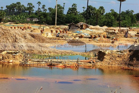 File: Wastewater at the Chinese-Myanmar military JV Letpadaung copper mine in central Myanmar's Sagaing division
