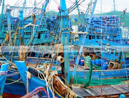 Some of 24 suspected slave fishing fishing boats belonging to Thai company S. Tongma impounded by Thai authorities in Songkhla, southern Thailand