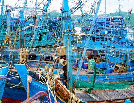 File Photo: Seized fishing boats in Thailand. Illegal fishing costs Indonesia $3 billion annually