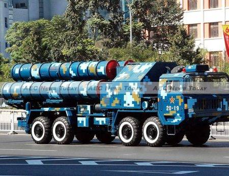 A Chinese HQ-9 medium- to long-range, active radar homing surface-to-air missile launcher similar to that believed to have been installed on Woody Island while Asean leaders spoke on trade issues with Barack Obama