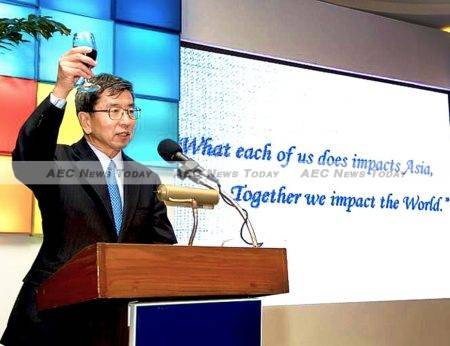 ADB president Takehiko Nakao raises a glass to thank the banks staff for their work throughout 2015 which saw a record amount of loans approvals, grants, technical assistance, and cofinancing reached.