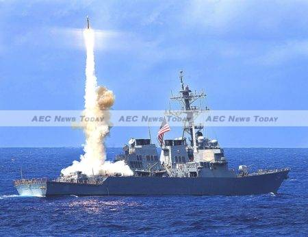 The USS Curtis Wilbur conducts a live-fire exercise. In January this year it sailed within 12 nautical miles of Triton Island, part of the Paracel Islands chain in a freedom of navigation operation that angered Beijing