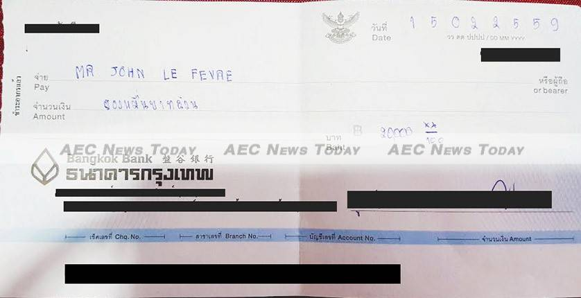 The cheque received by Mr Le Fevre from organisors of the #GoThailandGoAsean promotion