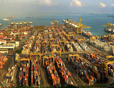 Part of the extensive Keppel Container Terminal, Singapore: Logistics performance is central to countries' economic growth and competitiveness says the World Bank