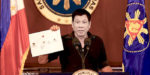 Philippine President Rodrigo Duterte presents a chart claimed to be illustrating a drug trade network of high level drug syndicates in the Philippines on July 7, 2016