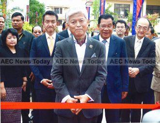 Shigemi Kitahara at the opening of Sunrise Japan Hospital, Phnom Penh