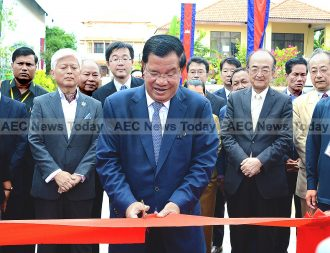 Cambodia Prime Minister Hun Sen at the opening of Sunrise Japan Hospital, Phnom Penh