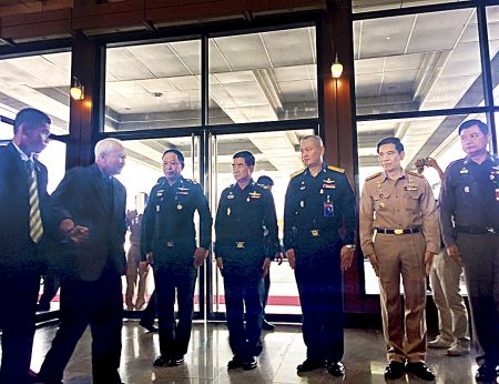 General Prem Tinsulanonda arrives at a seminar in Bangkok this morning also attended by General Surayud Chulanont and the new Thailand Army Chief General Chalermchai Sitthisart