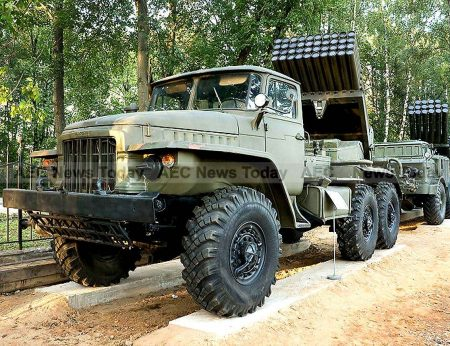 """The BM-21 """"Grad"""" Soviet truck-mounted 122 mm multiple rocket launcher as used by the Cambodian army - one of the weakest militaries in Asean according to the GFP 2016 ranking index"""