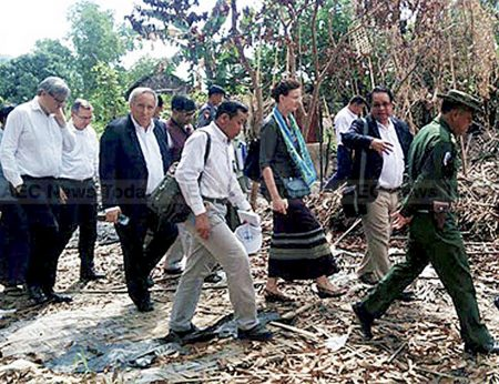 Foreign diplomats and UN representatives remain for a second day in Rakhine State in western Myanmar, investigating the latest outbreak of ethnic violence