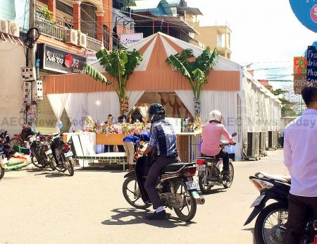Marquees are erected on sidewalks and roads for Cambodia weddings, funeral wakes, and engagements