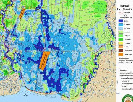Most of central Bangkok, including Bangkok International Airport, sits less than 0.5m above sea level