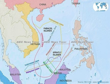 Asean member claims in the South China Sea