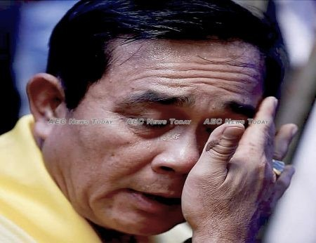 Thailand Prime Minister General Prayut Chan-o-cha weeps after being told of the difficulty faces rescuers after the 'Wild Boar' football team have been discovered alive (File)