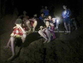 First photos of Thailand football team trapped inside a flooded cave in Mae Sai, northern Thailand