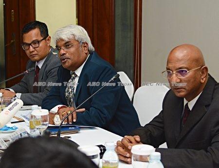 (LtoR) Ly Tayseng, Sivakumar S Ganapathy, and Joshua Purushotman during a media briefing in Phnom Penh on May 18