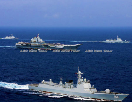 The Chinese Liaoning battle group C 700 in the South China Sea