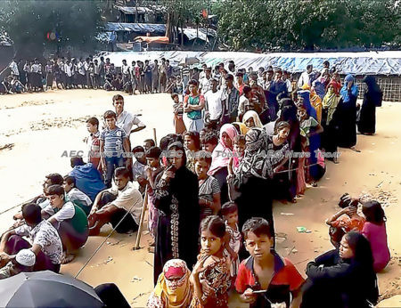 Rohingya refugee camp in Bangladesh in 2017: The Gambia filed a case against Myanmar claiming that Myanmar is failing to prevent genocidal intent against the Rohingya minority