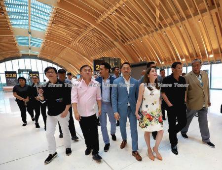 President Rodrigo Duterte and a few officials take a tour inside the Mactan-Cebu-International Airport Terminal 2 (MCIA-T2) 2 during its inauguration