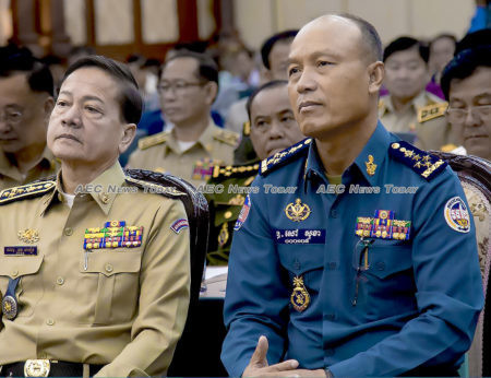 National Police Chief of Cambodia Neth Savoeun, left, and National Military Police Commander Sao Sokha, in 20156 (File)