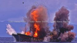 Watch: Indonesia blows up pirate fishing boats after navy ship rammed (video)