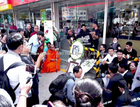 Well wishers and mourners gathered in front of the coffee shop last week where Kem Ley was shot dead, but were quickly dispersed by security forces