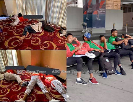The Cambodia national team sleeps on the floor (L) as the Timor Leste national team waits at the Manila airport