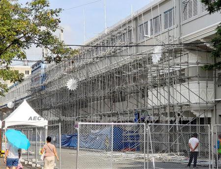Scaffolding still encasing parts of the 2019 SEA Games football stadium (Rizal Memorial Stadium) Nov 24.