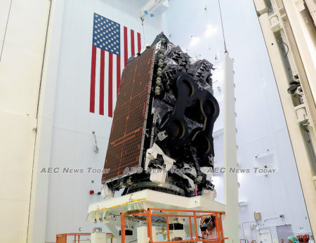 The Kacific-1 satellite (JCSAT-18-Kacific1) at the SpaceX launch facility