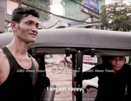 """Rith Chenda sleeps in his tuk tuk because he can not a afford a room: """"I am not happy"""""""