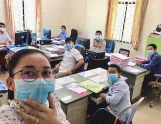 Coronavirus- surgical mask in office