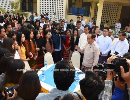 Dr Myint Htwe speaks with students and officials who were evacuated by the Myanmar government from Wuhan, China