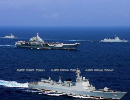 China's Liaoning aircraft carrier in the South China Sea