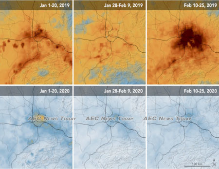 Significant decreases in nitrogen dioxide (NO2) over Wuhan, China have been detected year-on-year illustrating the effect COVID-19 ha had on manufacturing there
