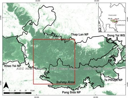 The Dong Phayayen-Khao Yai forest complex (DPKY) and the survey area (square) for estimating tiger population density