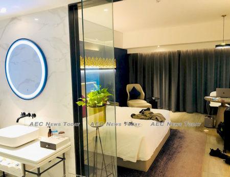 The inside of an $84 a night 'quarantine hotel' room in Phnom Penh.