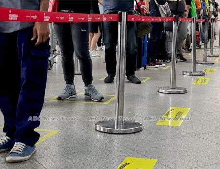 Strict social distancing enforced at Phnom Penh International Airport